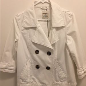 Women's White Old Navy Jacket With 3/4 Sleeves